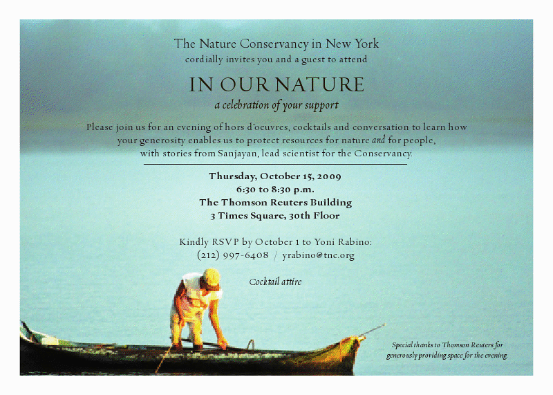 "NEW YORK-OCTOBER 15:  Guests attend The Nature Conservancy's: ""In Our Nature"", a cocktail party to celebrate supporters, with Dr. M.A. Sanjayan on Thursday, October 15, 2009 at The Thomson Reuters Building, 3 Times Square, New York City, NY (Photo Credit: ©Manhattan Society.com 2009 by Christopher London)"