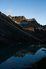 Lower Reed Lake reflects the local peaks and ridges in the waning evening light.