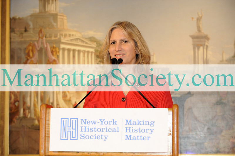 "NEW YORK-MAY18: N-YHS President & CEO Dr. Louise Mirrer addresses guests at New-York Historical Society's 2009 Strawberry Festival Benefit Luncheon honoring U.S. Senator Kirsten E. Gillibrand""on Monday, May 18, 2009 at New-York Historical Society, 170 Central Park West at 77th Street, New York City, NY  (Photo Credit: ©Gregory Partanio/ManhattanSociety.com)"