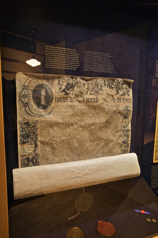 A copy of the 1670 Royal Charter which incorporated the Governor and Company of Traders of England trading into the Hudson's Bay, which is better known by the name it soon adopted, the Hudson's Bay Company, which still exists today. the HBC was hugely important for the settlement and exploitation of the centre and northern regions of what is now Canada (and what was then merely lands owned by the Company, including Rupert's Land).