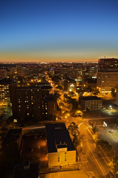 View across downtown Edmonton at dusk.