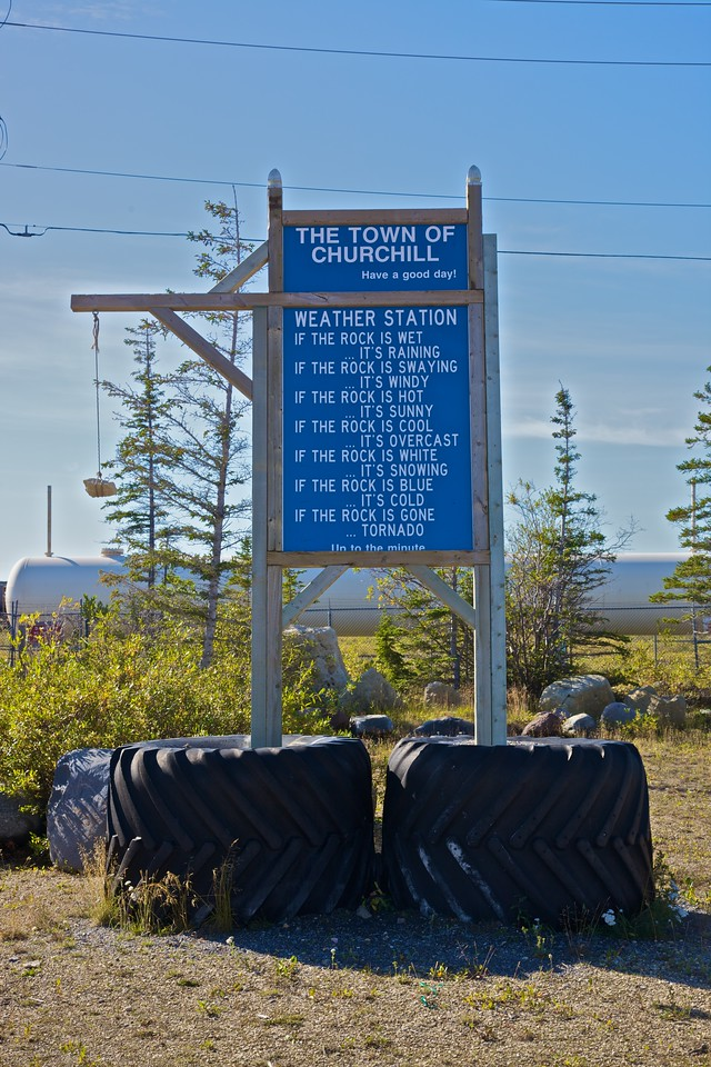 The 'weather station' in the city of Churchill. Evidently someone in Churchill has a very Australian sense of humour.