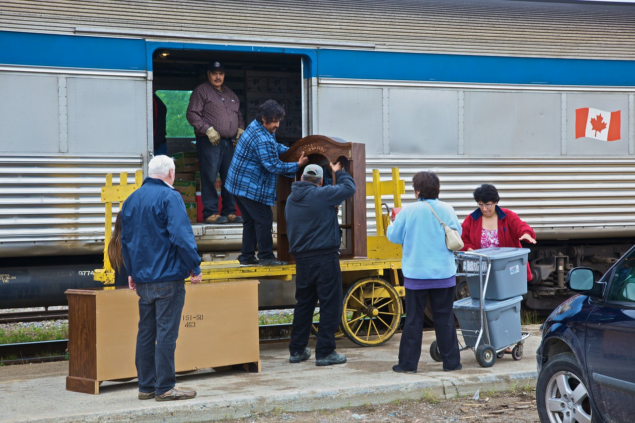 People loading furniture on to the train at Thompson, in northern central Manitoba. The train is on the Hudson's Bay Railway travelling to Churchill, and it was only when we stopped at Thompson that anyone other than me and an American couple were let on (we had come from The Pas, further south-west). Most of the people who got on at Thompsons got off again at aboriginal villages and settlements along the route before we arrived eventually at Churchill.