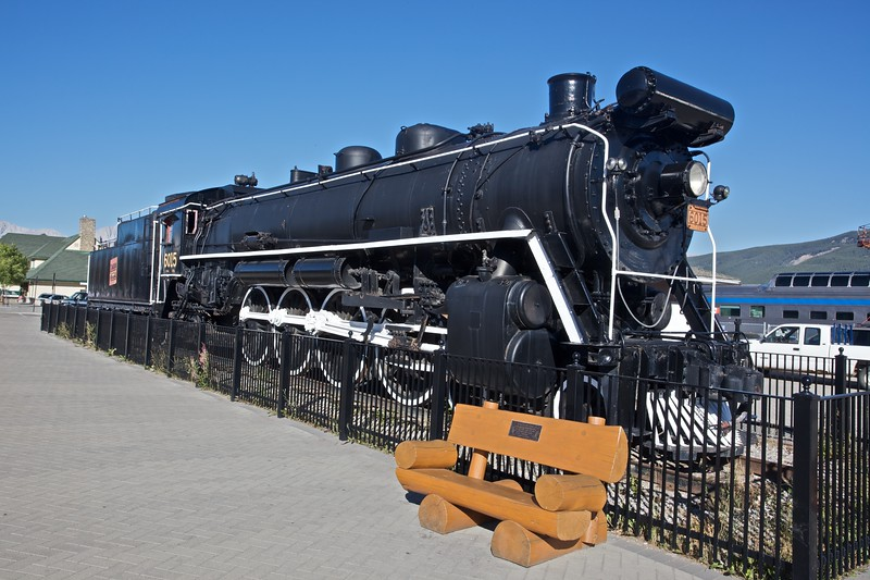 A Canadian National steam engine on display outside the railway station at Jasper, which I saw during the hour-long stop there on my way from Vancouver to Edmonton.
