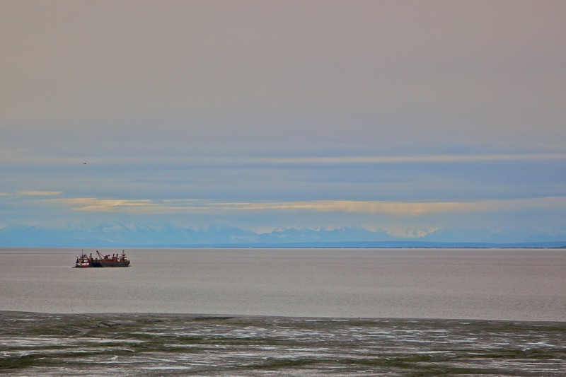 A cargo vessel in the Gompertz Channel, just outside of Anchorage.