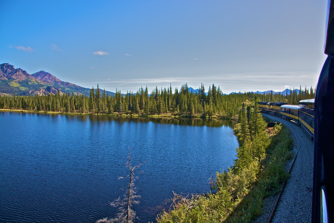 An Alaska Railroad train passes through central Alaska on the line from Fairbanks to Denali Park.