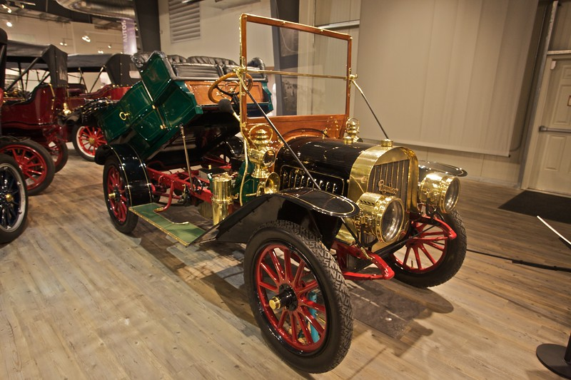 A 1908 Rambler Model 31 5-passenger touring car, built by the Jeffrey Company of Kenosha, Wisconsin. The manufacturers claimed that one man could easily convert the vehicle into a flat-bed truck. (In the Fountainhead Antique Car and Auto Museum, Fairbanks.)