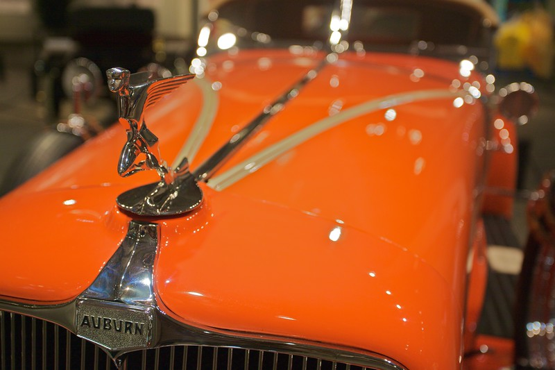 Detail of the bonnet of the 1933 Auburn Model 12-161A. (In the Fountainhead Antique Car and Auto Museum, Fairbanks.)