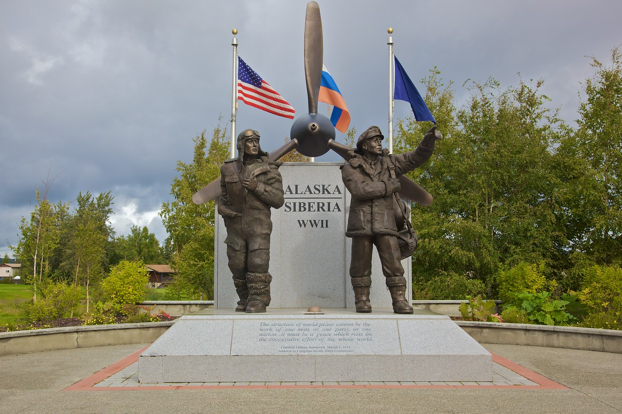 The Lend-Lease Monument in Fairbanks commemorates the collaboration between the USA and Russia during WWII, when equipment and supplies were transported across Alaska and Russia to reach the eastern front.