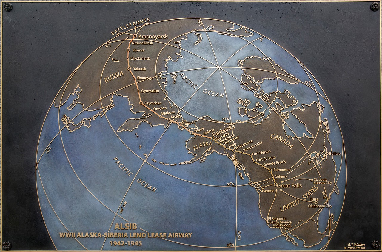 The route of the Alaska-Siberia Lend-Lease Airway during WWII.