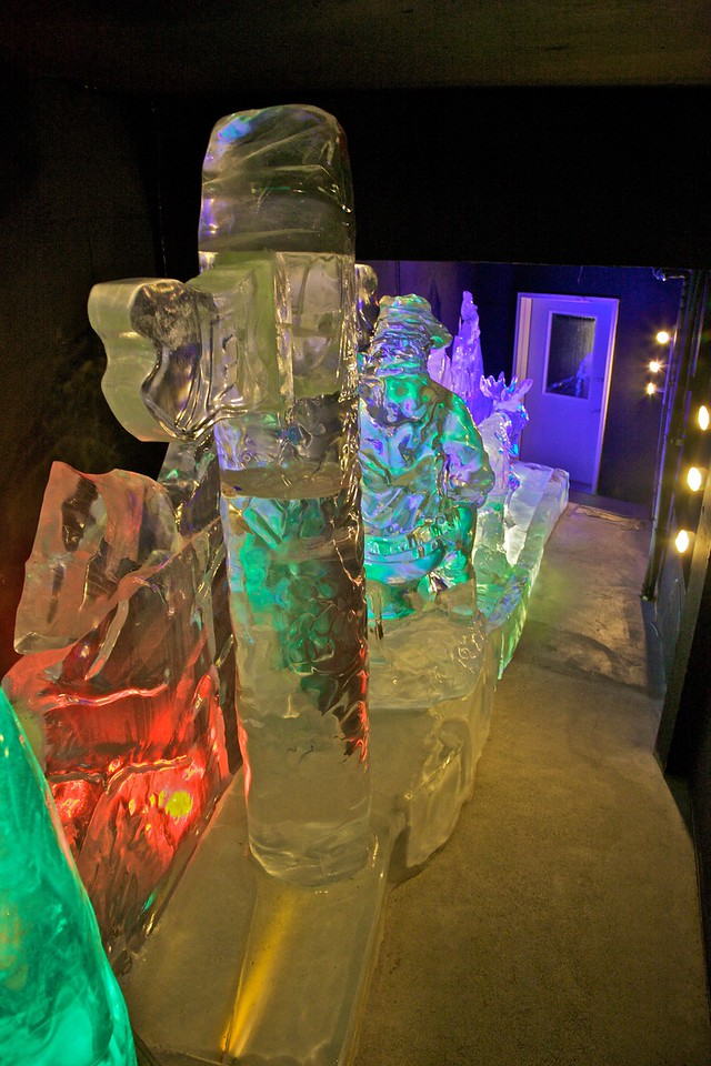 Ice sculptures in the Fairbanks Ice Museum. Visitors are invited to go into the glassed-in freezers where the sculptures are kept to look at (but not touch!) them up close. For the record, 20ºF is cold.