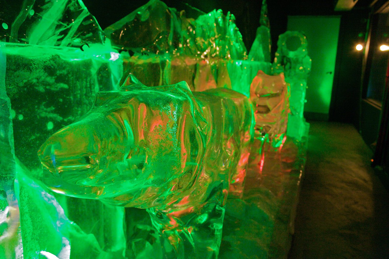 An ice sculpture of a dog-sled team in the Fairbanks Ice Museum.