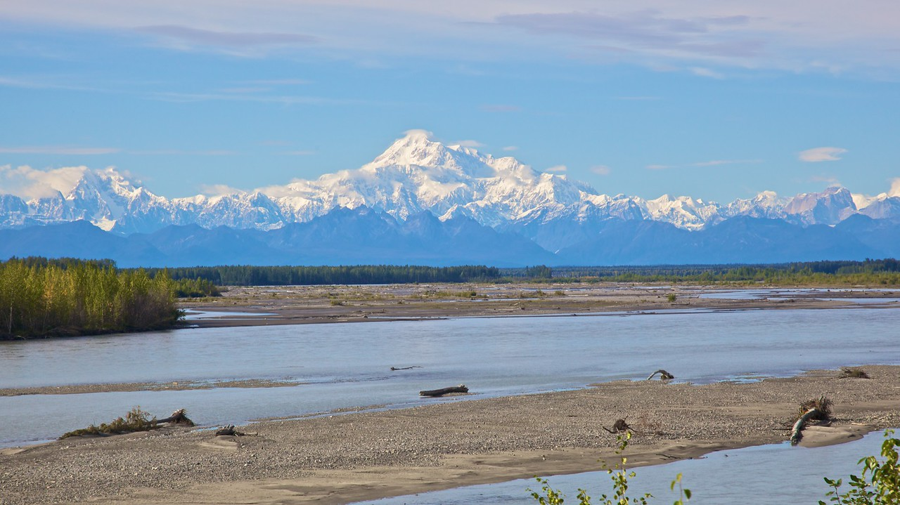 The Mt McKinley massif, about 120 miles from the peak.