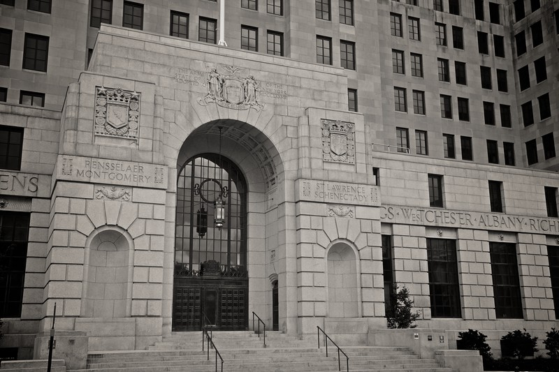 The entrance to the Alfred E. Smith building, another State government building in Albany.