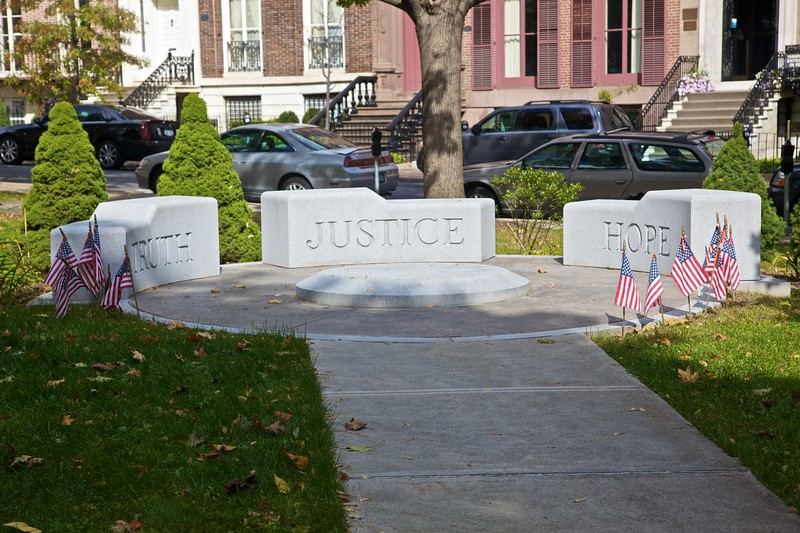 The crime victims'memorial in Albany.