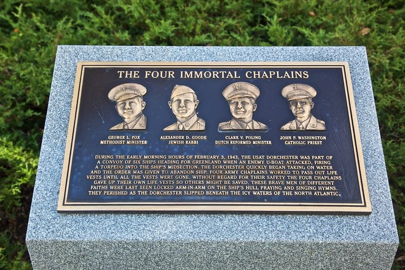 'The four immortal chaplains': this plaque is part of the New York State World War II memorial.