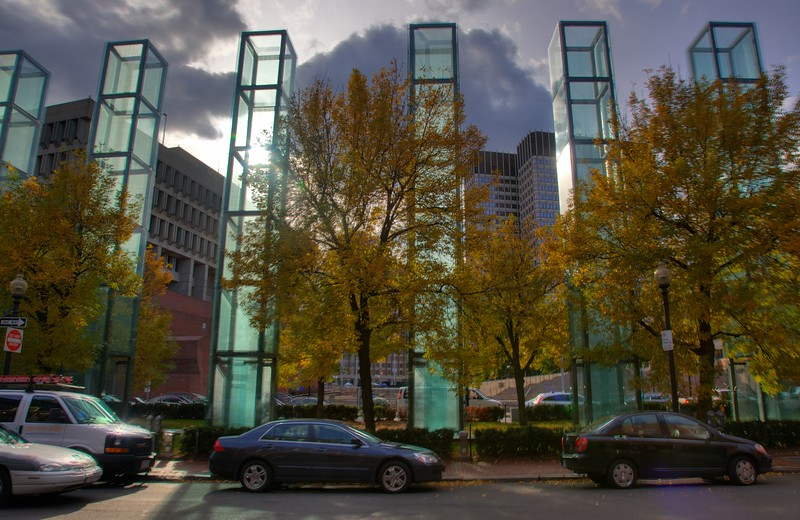 Some of the columns of the New England Holocaust Memorial. Steam is passed through the pillars as a reminder of the ovens used by the Nazis to exterminate their prisoners.