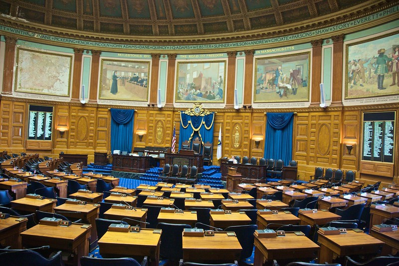 The chamber of the House of Representatives in the Massachusetts State House.