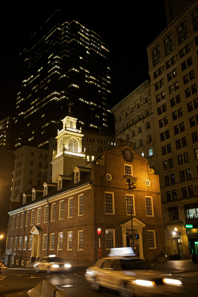 The Old State House at night.