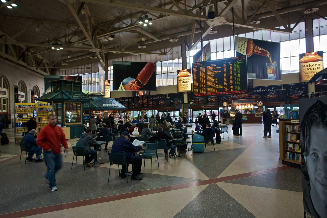 The main concourse of Boston South Station.