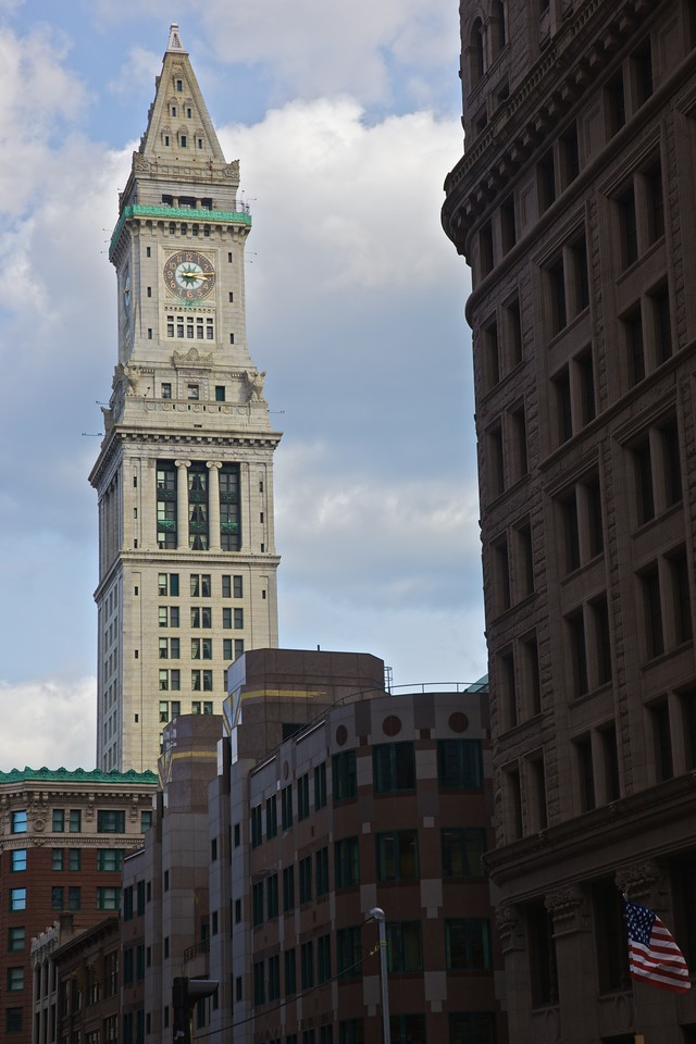 The tower of Boston town hall.