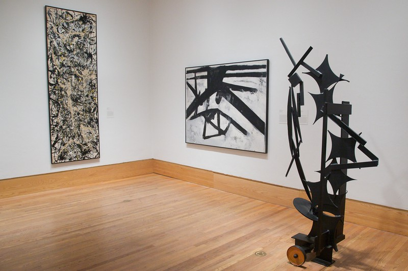 Modern works (including a painting by Jackson Pollack) at the Arthur M. Sackler Museum.