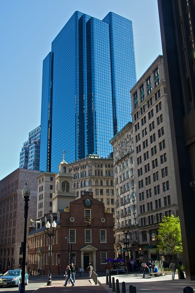 Buildings in Boston, including the Old State House.