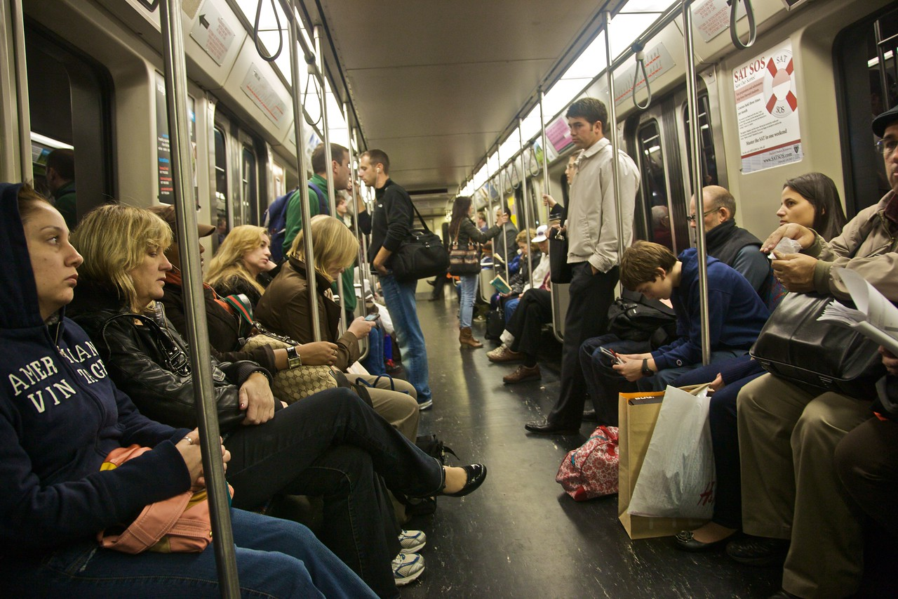 On-board the 'T', the subway that serves the Boston metropolitan area.