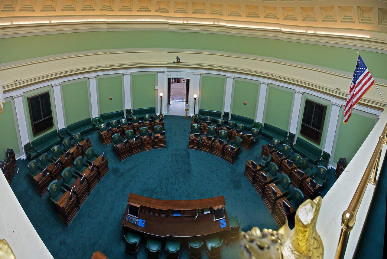 The Senate chamber in the Rhode Island State House. (Five photos stitched together.)