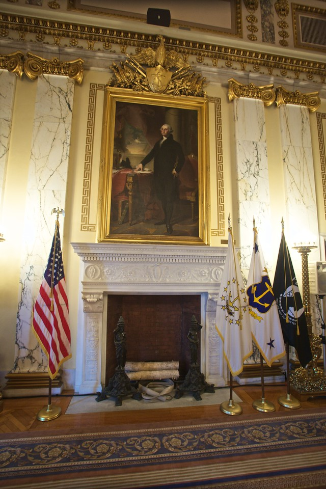 The portrait of George Washington in the Governor's reception room in the Rhode Island State House.