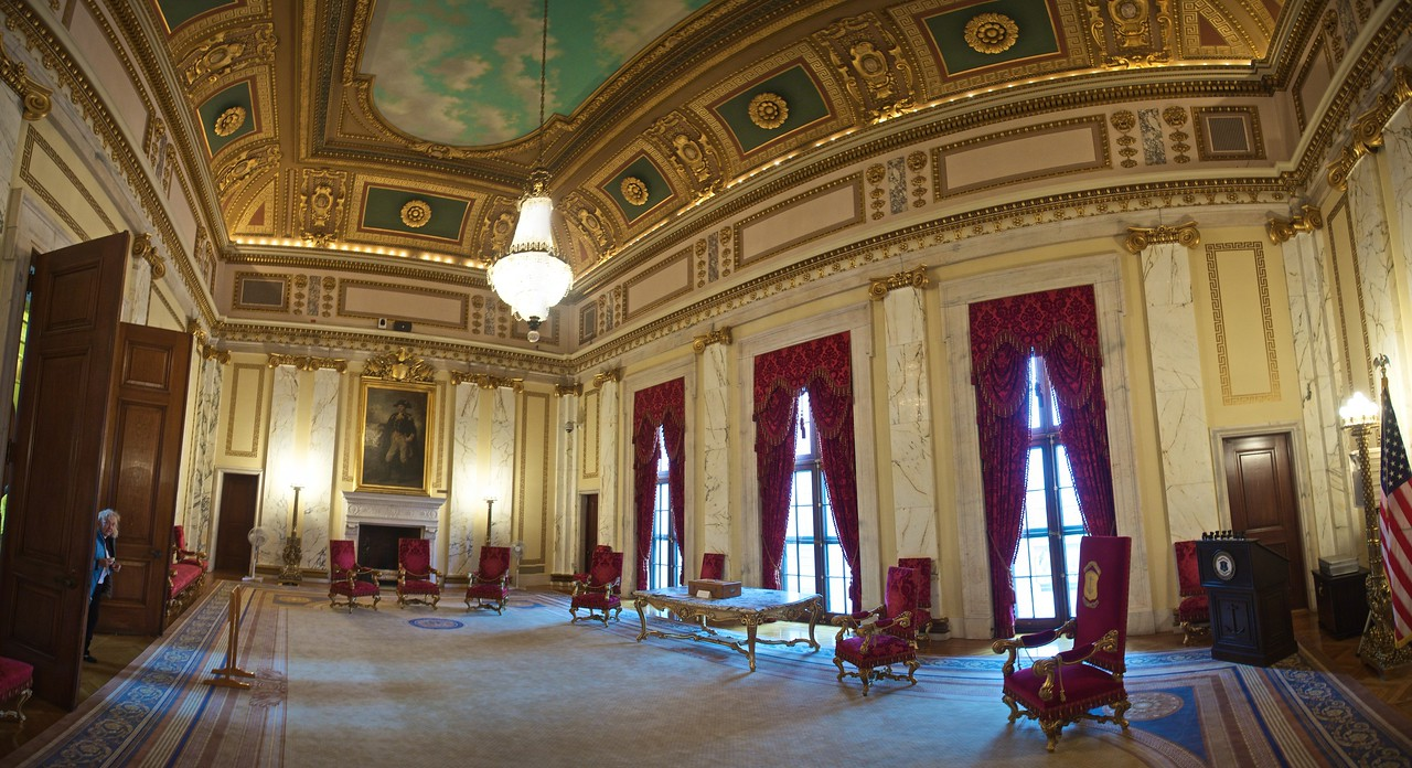 The Governor's reception room in the Rhode Island State House. (Three photos stitched together.)