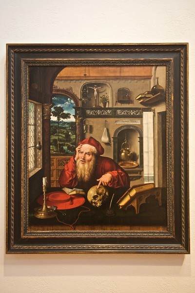 <cite>Saint Jerome in His Study</cite> by Joos van Cleve (fl. 1511–40/41), in the Arthur M. Sackler Museum.
