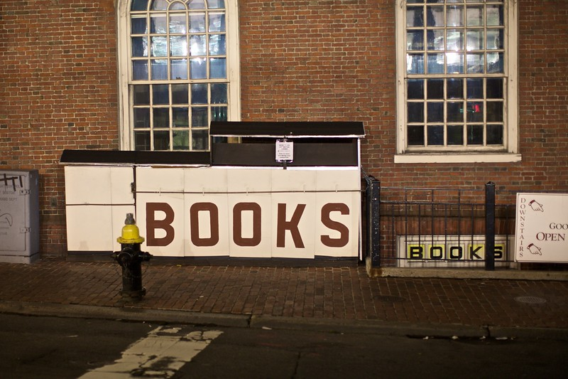 A street bookstall in Boston closed up for the night.