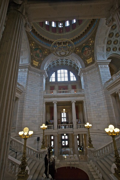 The rotunda of the Rhode Island State House. When I was there preparations were being made for some event where the Governor would preside.