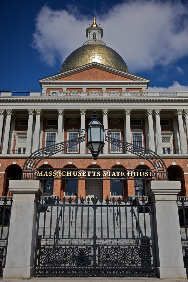 These gates, steps, and doors of the Massachusetts State House open on to Boston Common, and are only used on certain special occasions, including a Governor's departure from office (he descends the steps to the Common as he becomes one of the common men once more) and a President's visit to Boston.