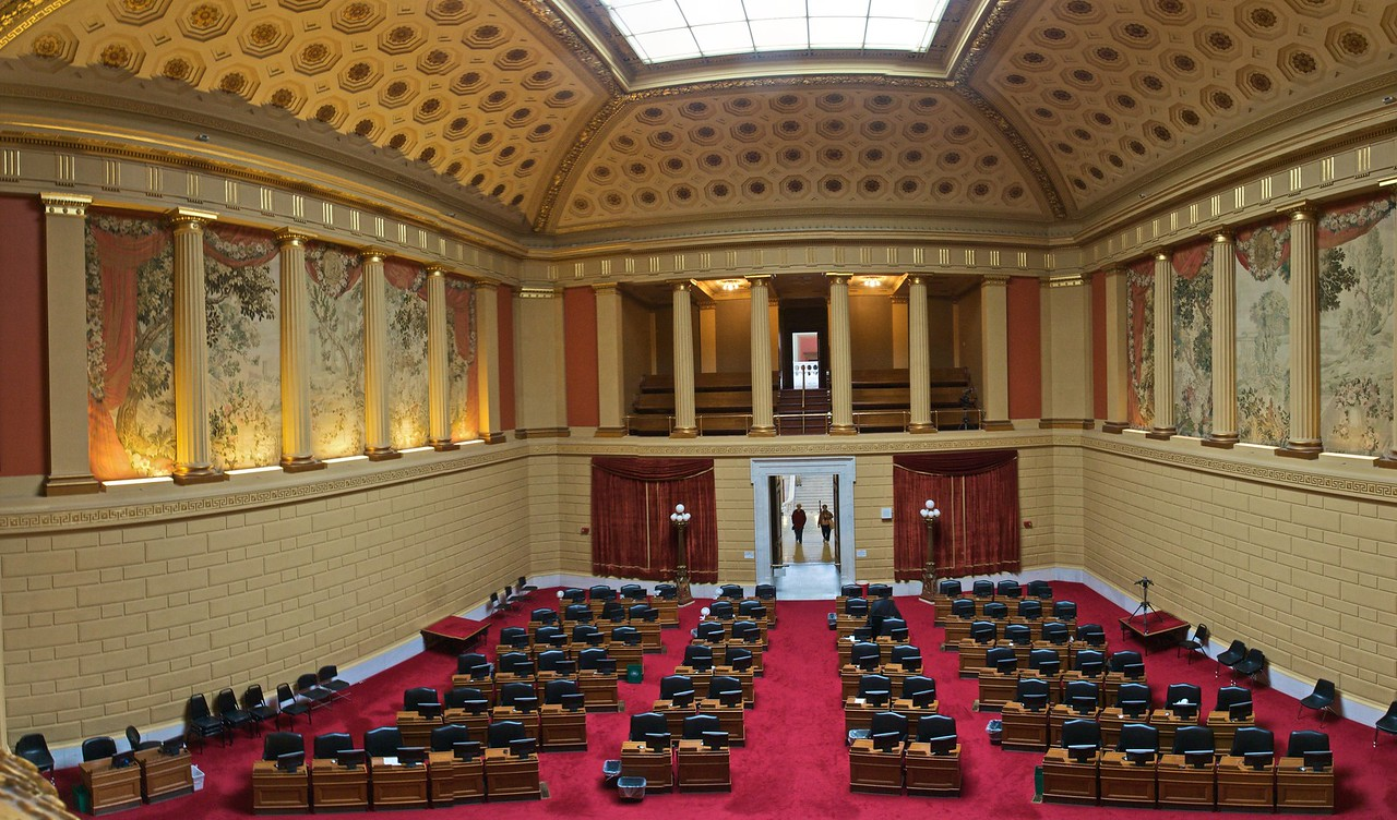 The chamber for the House of Representatives in the Rhode Island State House. (Five photos stitched together.)