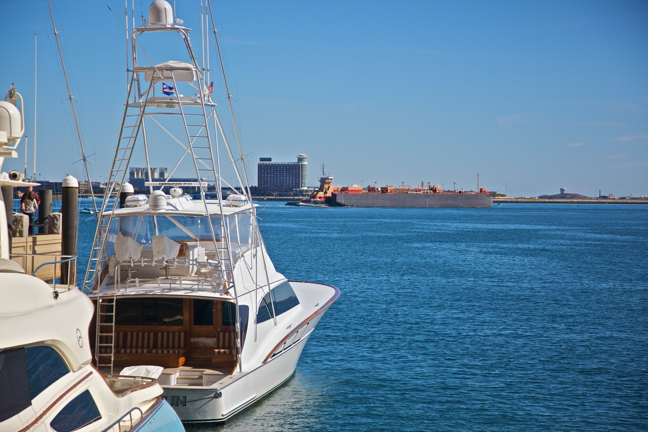 Boats in Boston moored in Massachusetts Bay.