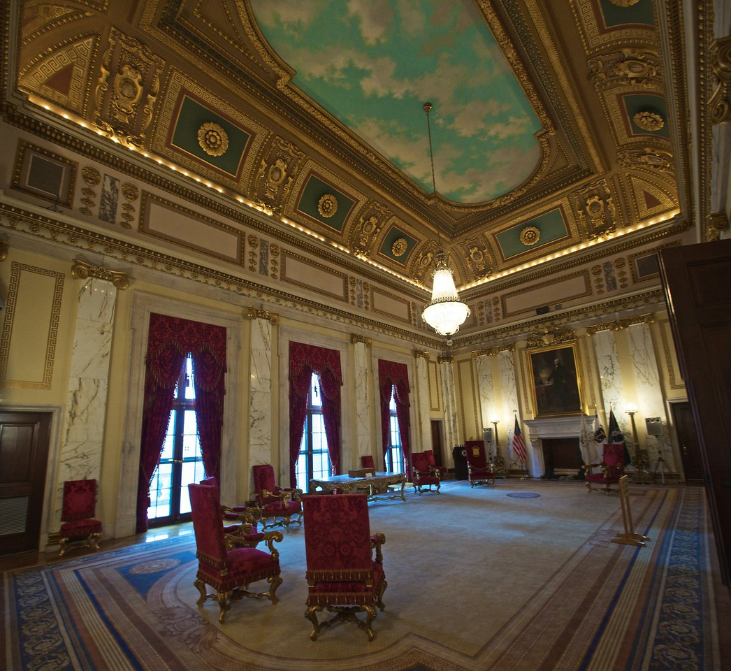 The Governor's reception room in the Rhode Island State House.