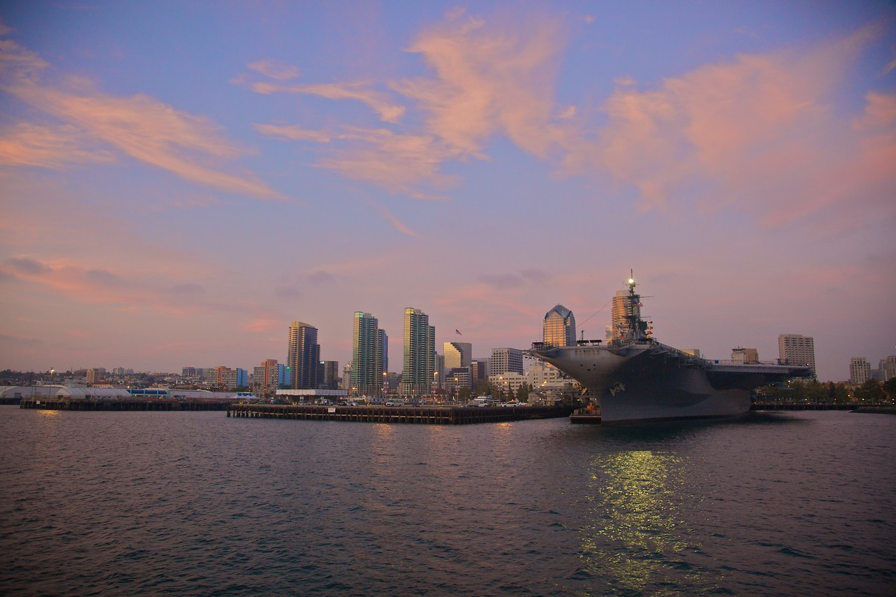 San Diego at sunset. The aircraft carrier the USS Midway has been permanently docked here since 2004.