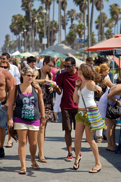 There were large numbers of people all along Venice Boardwalk.