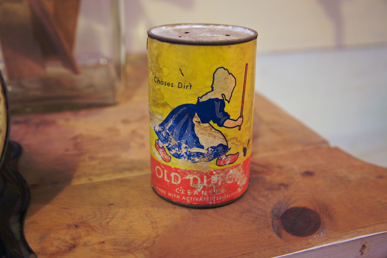 A tin of cleaner inside the William Heath Davis house in San Diego.