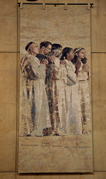 Saints in the cathedral of Our Lady of the Angels, Los Angeles: Bonaventure, Peter Claver, Felicity, and Perpetua. It is interesting, but in no way verifiable, that Felicity is here shown as a black girl. (She was the servant of the noblewoman Perpetua.)