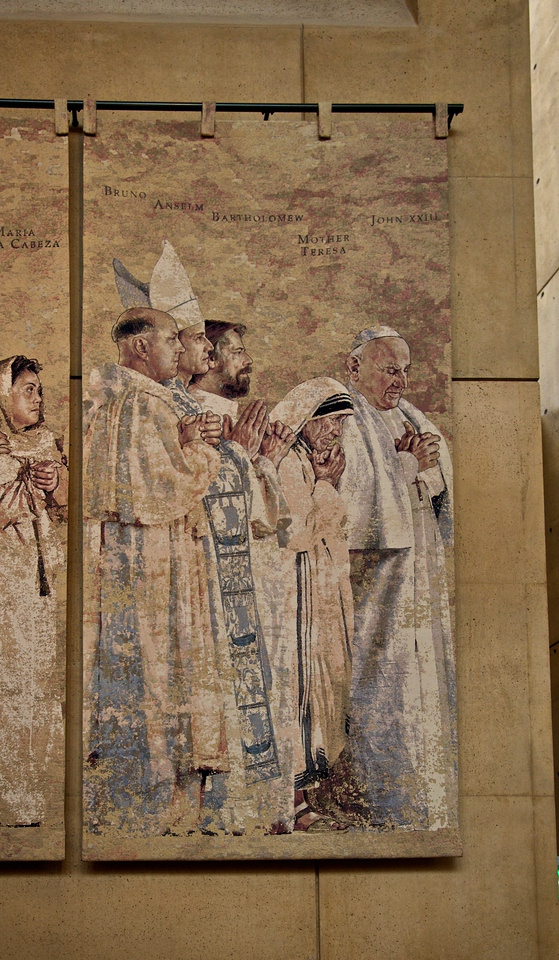 Closeup of saints in the cathedral of Our Lady of the Angels, Los Angeles: Bruno, Anselm, Bartholomew, Mother Teresa [!], John XXIII.