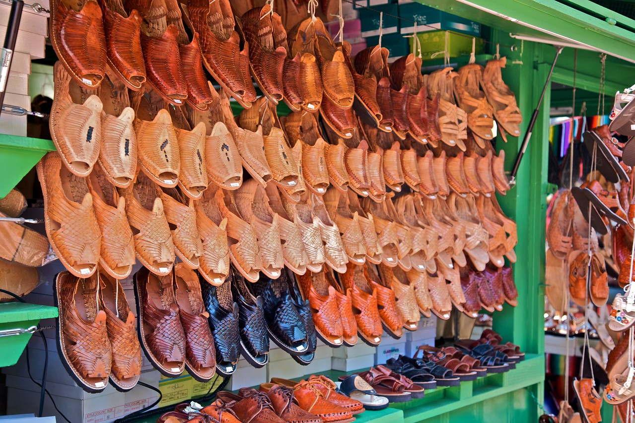 Shoes on sale in the Pueblo de Los Angeles.