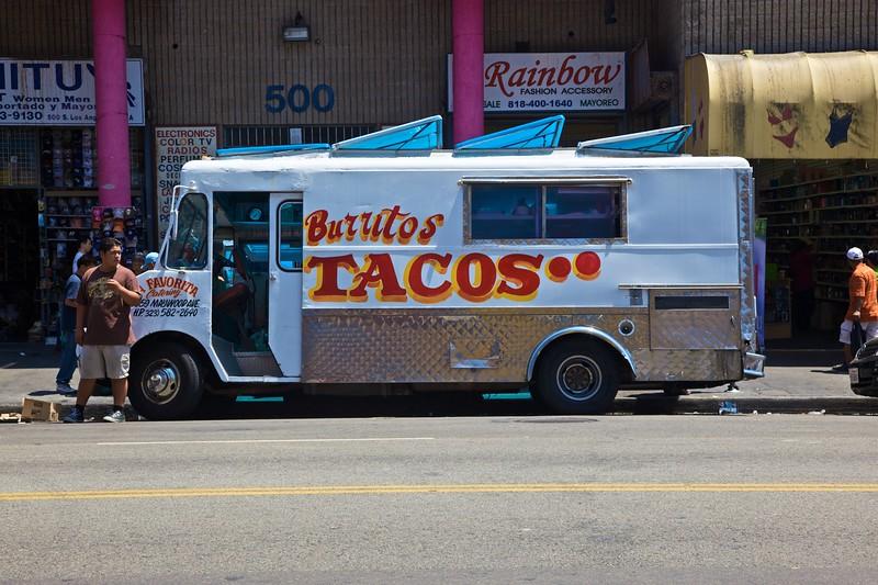 A fast food van in downtown Los Angeles.