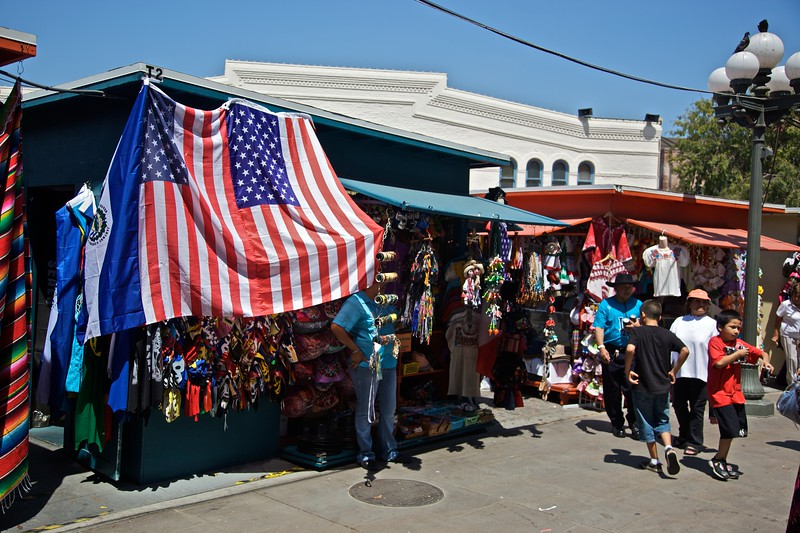 Stalls in the Pueblo de Los Angeles.