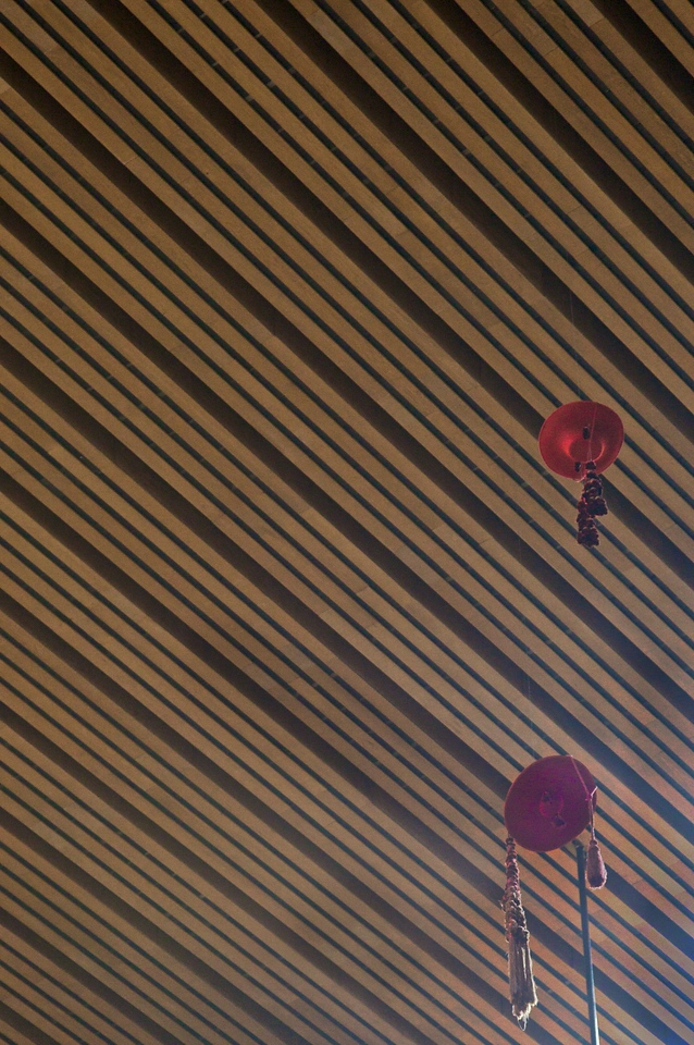 Cardinals'hats hanging above the cathedra in the cathedral of Our Lady of the Angels in Los Angeles.
