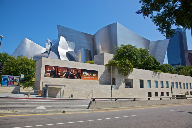 The back side of the Walt Disney Concert Hall in Los Angeles.