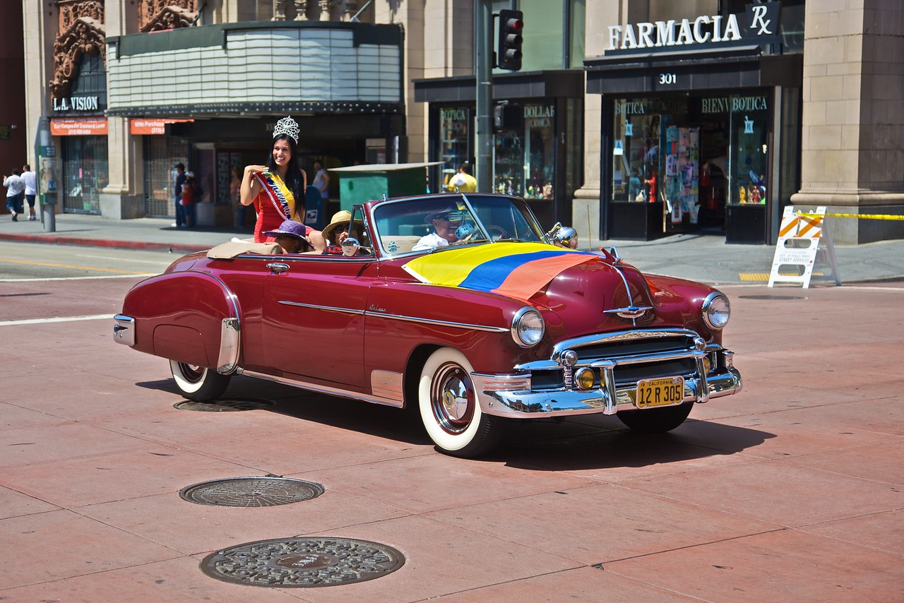 One of the cars in the parade celebrating the bicentenary of Ecuadorean independence.