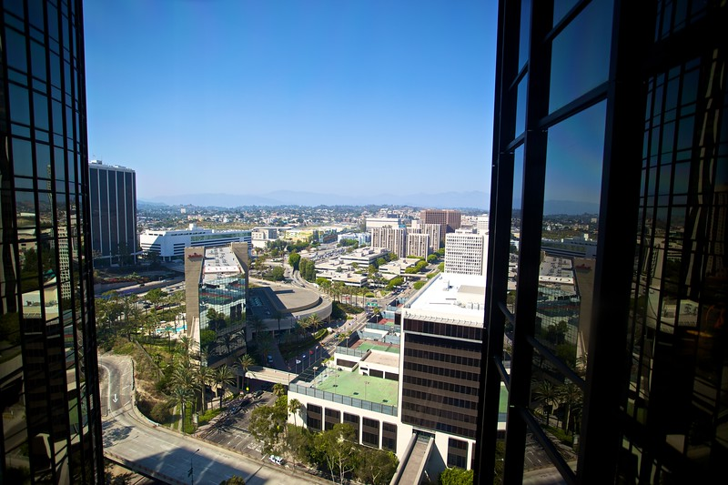A view over downtown Los Angeles from the glass elevator of the Westin hotel.